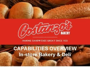 CAPABILITIES OVERVIEW Instore Bakery Deli 1 2 3