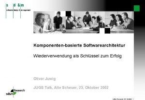 Komponentenbasierte Softwarearchitektur Wiederverwendung als Schlssel zum Erfolg Oliver