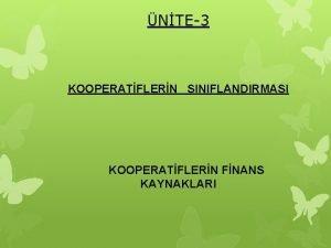 NTE3 KOOPERATFLERN SINIFLANDIRMASI KOOPERATFLERN FNANS KAYNAKLARI 3 KOOPERATFLERN