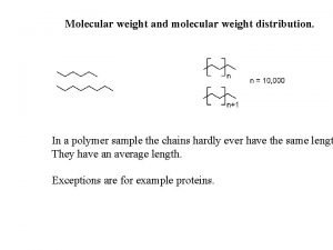 Molecular weight and molecular weight distribution In a