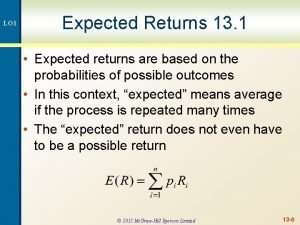LO 1 Expected Returns 13 1 Expected returns