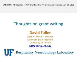 GMS 6096 Introduction to NIH Grant writing for