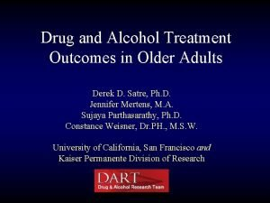 Drug and Alcohol Treatment Outcomes in Older Adults