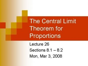 The Central Limit Theorem for Proportions Lecture 26
