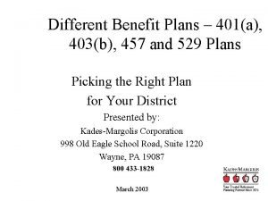 Different Benefit Plans 401a 403b 457 and 529