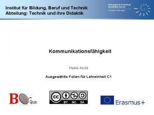 Institut fr Bildung Beruf und Technik Abteilung Technik