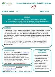 Association des retraits du Crdit Agricole 47 Bulletin