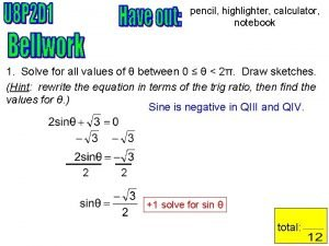 pencil highlighter calculator notebook 1 Solve for all
