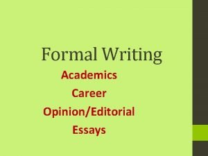 Formal Writing Academics Career OpinionEditorial Essays Creative writing