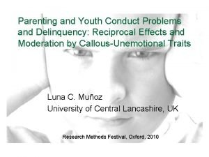 Parenting and Youth Conduct Problems and Delinquency Reciprocal
