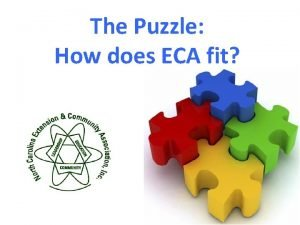 The Puzzle How does ECA fit ECA For
