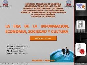 REPBLICA BOLIVARIANA DE VENEZUELA UNIVERSIDAD RAFAEL BELLOSO CHACN