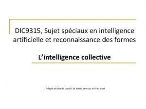 DIC 9315 Sujet spciaux en intelligence artificielle et