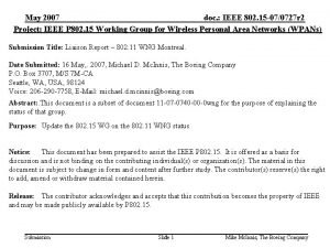 May 2007 doc IEEE 802 15 070727 r