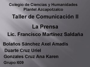 Colegio de Ciencias y Humanidades Plantel Azcapotzalco Taller