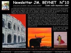 Newsletter JM BEYNET N 10 artistepeintre cot AKOUN