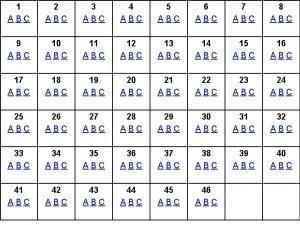 1 ABC 2 ABC 3 ABC 4 ABC