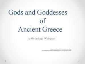 Gods and Goddesses of Ancient Greece A Mythology
