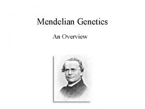 Mendelian Genetics An Overview Pea plants have several