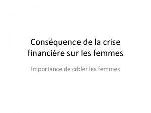 Consquence de la crise financire sur les femmes