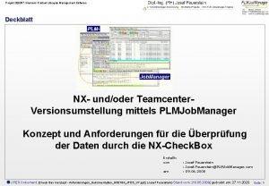Projekt 200357 Siemens Product Lifecycle Management Software Deckblatt