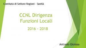 Comitato di Settore Regioni Sanit CCNL Dirigenza Funzioni