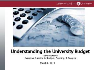 Understanding the University Budget Kelley Westhoff Executive Director