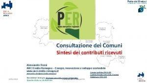 Consultazione dei Comuni Sintesi dei contributi ricevuti Alessandro