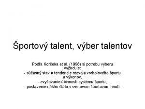 portov talent vber talentov Poda Koreka et al