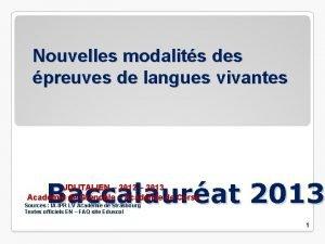 Nouvelles modalits des preuves de langues vivantes Baccalaurat