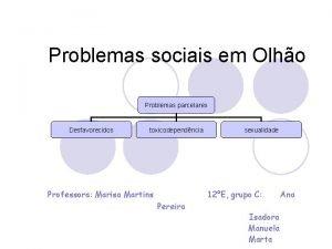 Problemas sociais em Olho Problemas parcelares Desfavorecidos toxicodependncia