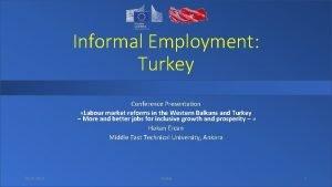 Informal Employment Turkey Conference Presentation Labour market reforms