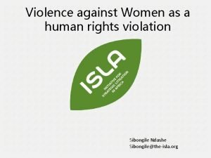 Violence against Women as a human rights violation