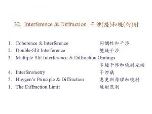 32 Interference Diffraction 1 Coherence Interference 2 DoubleSlit