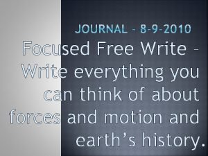Focused Free Write Write everything you can think
