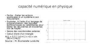 capacit numrique en physique Partie Relier les actions