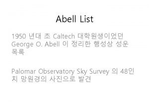 Abell List 1950 Caltech George O Abell Palomar