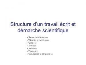 Structure dun travail crit et dmarche scientifique Revue