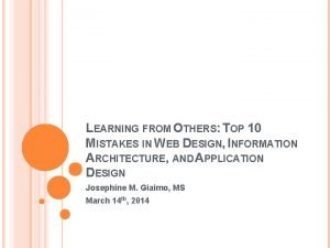 LEARNING FROM OTHERS TOP 10 MISTAKES IN WEB