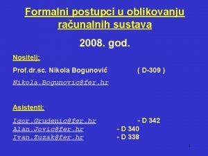 Formalni postupci u oblikovanju raunalnih sustava 2008 god
