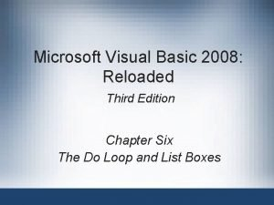 Microsoft Visual Basic 2008 Reloaded Third Edition Chapter