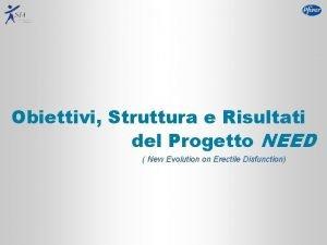 Obiettivi Struttura e Risultati del Progetto NEED New