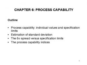 CHAPTER 6 PROCESS CAPABILITY Outline Process capability individual