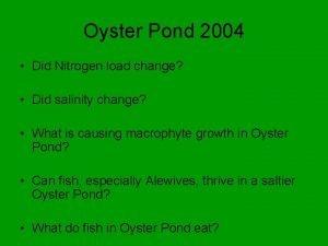 Oyster Pond 2004 Did Nitrogen load change Did