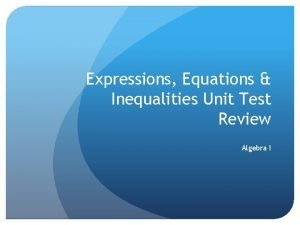 Expressions Equations Inequalities Unit Test Review Algebra I