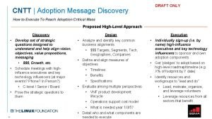 DRAFT ONLY CNTT Adoption Message Discovery How to