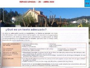 REPASO LENGUA 28 ABRIL 2020 R8 REPASO LENGUA