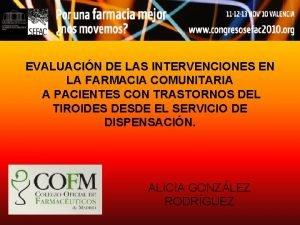 EVALUACIN DE LAS INTERVENCIONES EN LA FARMACIA COMUNITARIA