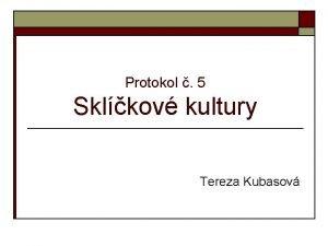 Protokol 5 Sklkov kultury Tereza Kubasov Sklkov kultury