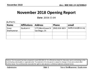 November 2018 doc IEEE 802 19 180080 r